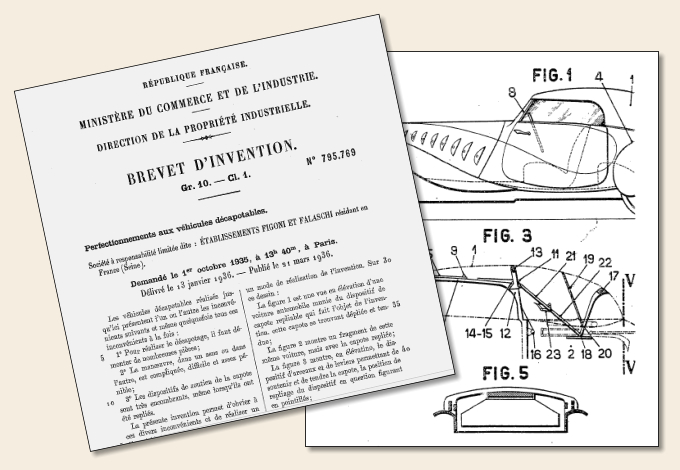 Delahaye 135 Competition Convertible 1936 Figoni et Falaschi disappearing top patent