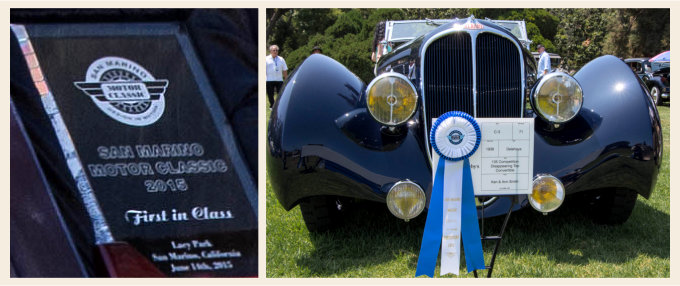 Delahaye 135 Competition Convertible 1936 Figoni et Falaschi First in Class at San Marino Concours
